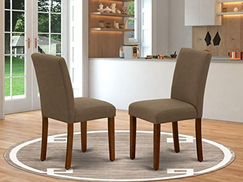 East West Furniture Kitchen Chairs - Comfortable Coffee Linen Fabric, Wooden Mahogany Finish Legs Modern Parsons Dining Chairs- Set of 2