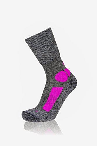EIGHT SOX Chaussettes de Trekking en Laine mérinos pour Femme M Dark Grey Melange/Berry