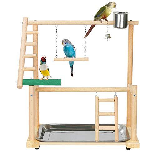 Fittoway Papagei Spielen Stand Vogelspielplatz Nymphensittich Vogelspielplatz Naturholz Holz Vogelständer für Kanarien Wellensittiche (mit Edelstahl-Tablett, Futternapf)