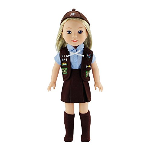Emily Rose 14 Inch Doll Clothes | 6 Piece 14' Doll Girl Scouts Brownie Uniform Including Hat and Vest! | Gift Boxed! | Compatible with 14.5' Wellie Wishers and 14' Glitter Girls Dolls