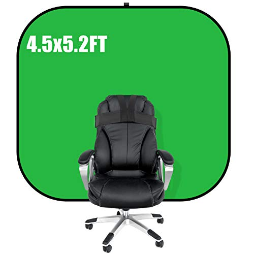 Qtto 4.5ft x 5.2ft Portable Green Screen for Chair Collapsible Webcam Background, Work from Home Chromakey Green Screen Chair for Zoom and Streaming Virtual Background.