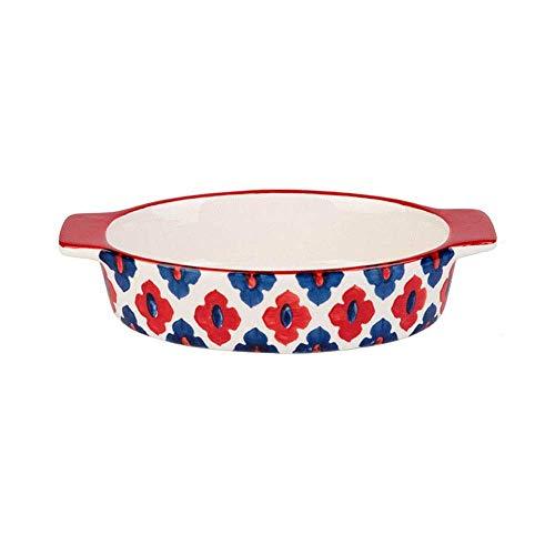 QZH Plato de vajilla de cerámica Creativa 2 Piezas de Utensilios de cerámica para Hornear de Doble Oreja Plato Occidental para Fiesta de Navidad Suministros para el hogar Regalos para niños