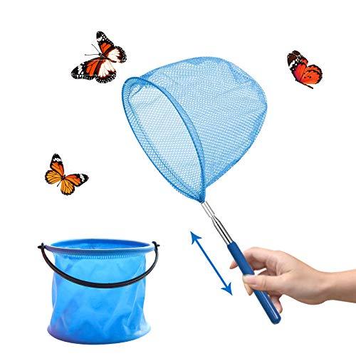 Yisscen Teleskop Kinder Kescher, Kinder Schmetterling Net mit Teleskopstange Faltbaren Eimern Zum Fangen von Insekten Angeln Outdoor Gartenaktivitäten Natur Wissenschaft Exploration Werkzeug(Blau)