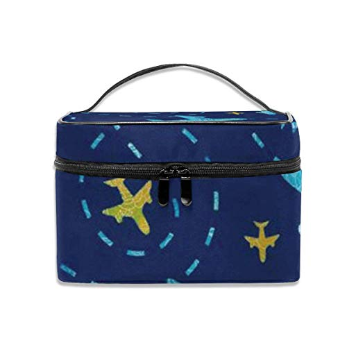 Unique Design Nay Blue Airplane Travel Cosmetic Organizer Portable Storage Bag, Multifunction Toiletry Bags