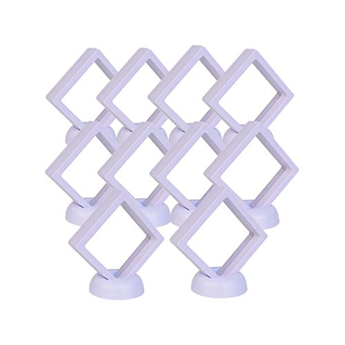XIZHI 10 Pack Square 3D Floating Frames Jewelry Display Case Suspending Effect Holder for Challenge Coin, AA Medallion, Chip, Specimens 2 3/4 x 2 3/4 x 7/8inches (White)