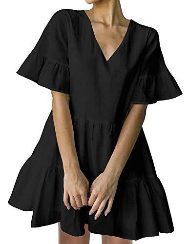FANCYINN Womens Black Shift Dress with Pockets Bell Sleeve Ruffle Hem V Neck Spring Swing Tunic Mini Dress XL
