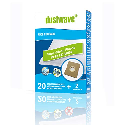 dustwave – 20 bolsas de filtro de polvo para Primotecq – HEPA 2000 W – Bolsas para aspiradora de marca dustwave / Fabricado en Alemania + Incluye microfiltro