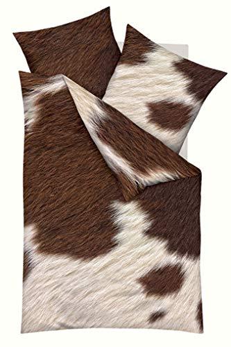 Kaeppel Digitaldruck Bettwäsche Kuhfell, Animal-Print Nougat 80x80 + 135x200 cm