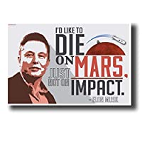 Qqwer 火星で死にたいのですが、衝撃ではありません。-イーロンマスク-新しい動機付けのキャンバスポスタープリント壁アート絵画家の装飾-60X80Cmx1Pcs-フレームなし
