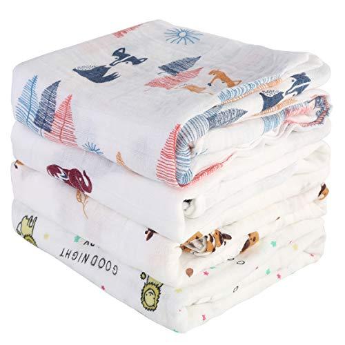 DaMohony - Manta de Muselina Recién Nacidos Bebés 4 Piezas Mantas Muselinas de Algodón Bambú Toalla Suave de Baño para Bebé Infantil 140x140 cm