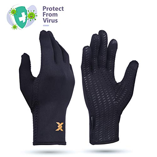 Thx4COPPER Infused Compression Winter Thermal Gloves, Touch Screen Full Finger Warm Glove for Writing, Texting, Cycling, Running, Carpal Tunnel–Anti-Slip Windproof for Women/Men