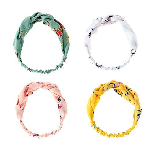 4 stuks twist knopen hoofdband boho bloemen elastisch haarband zachte chiffon hoofdband voor vrouwen.