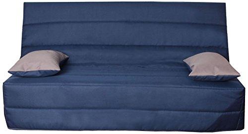 CANAPES TISSUS Naples Banquette Canapé-Lit, Polyester, Bleu, 193 x 95 x 101 cm