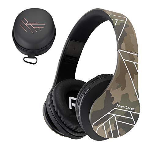 PowerLocus Bluetooth Over-Ear Kopfhörer, Kabellos Stereo Faltbare Kopfhörer Kabellose und Kabel-Kopfhörer mit Integriertem Mikrofon, Micro SD/TF, FM für Handys/iPad/Laptops & PC (Camouflage)