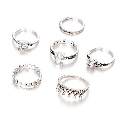 Idiytip Bohemian Crown Star Carved Knuckle Rings Set for Women White Rhinestone Finger Ring Statement Jewelry