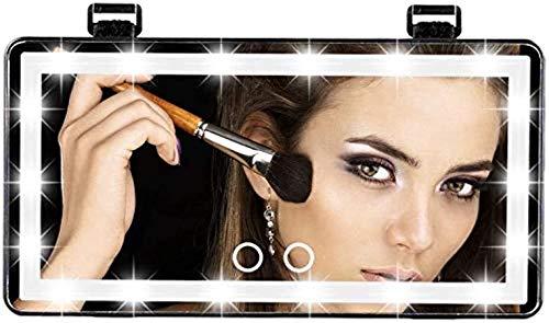 JIUWEI Espejo de tocador para coche, espejo cosmético para coche, tipo c, con visera de sol regulable con pantalla táctil con clip en pantalla para mujer