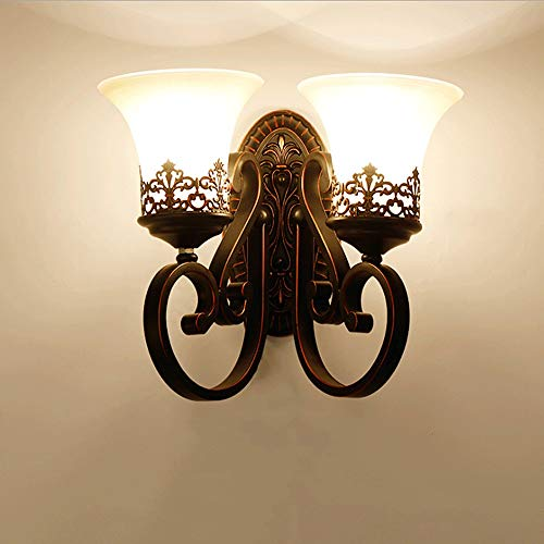 no-branded Wall Lamp Aisle Bedroom Bedside Mirror Front Wall Lamp Bar Lamp ZHQHYQHHX (Color : Double head)