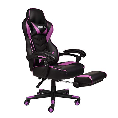 ELECWISH Racing Video Gaming Chair High Back Ergonomic Adjustable Swivel Reclining Executive Computer Chair with Headrest and Lumbar Support PU Leather Executive Office Chair, Purple
