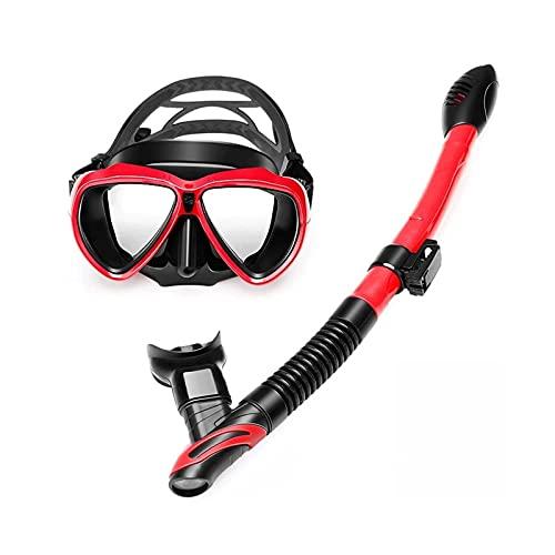 Peakfeng SB Snorkel Seco Top Snorkel Máscara con Ojos Grandes for niños Niñas Anti-Niebla y Anti-Fugas Mascarilla de Buceo Snorkel Gafas Anti-Niebla (Color : Red)