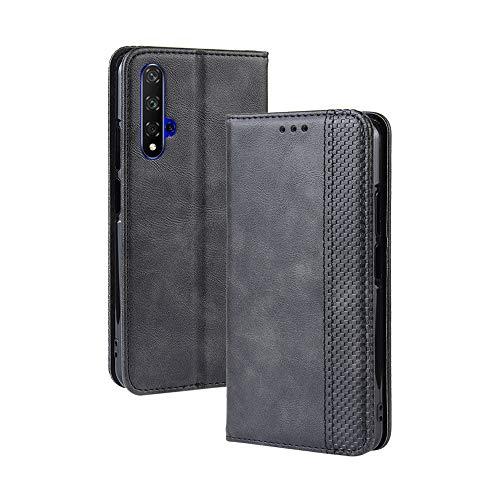 LAGUI Kompatible für Huawei nova 5T Hülle, Leder Flip Hülle Schutzhülle für Handy mit Kartenfach Stand & Magnet Funktion als Brieftasche, schwarz
