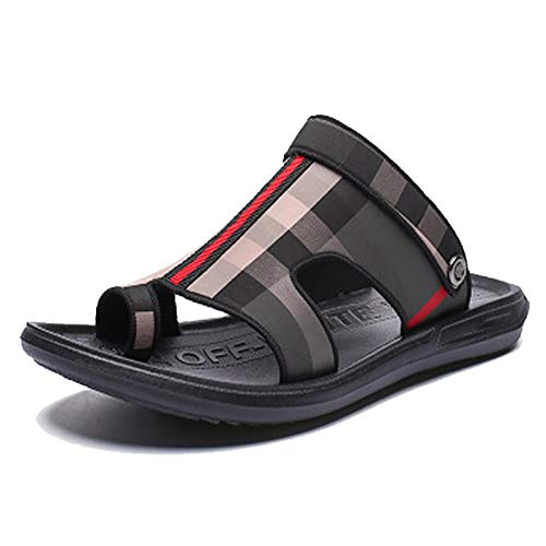 EEUK Men's Big Toe Bone Corrector Sandals Open Toe Orthopedic Flip Flop Lightweight Comfort with Arch Support Open-Toe Platform Shoes Toe Straighten ShoesBlack and Gray Grid-USA 10