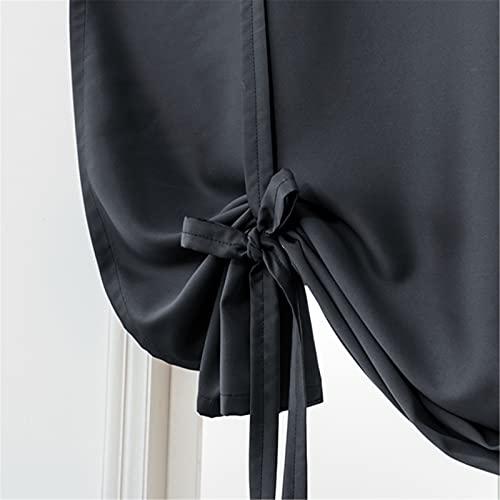XJHKG Cortinas Opaca, Aislantes Térmicas Cortina Visillos para Dormitorio Salón Habitación Ventanas (Negro,W31.5 x L55)