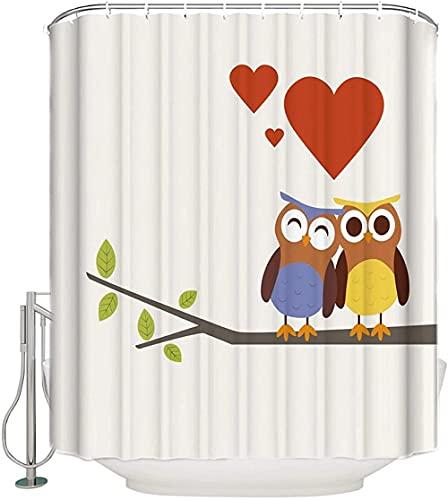 Cortina de Ducha Impermeable de poliéster de Tela de decoración de baño de Ramas de Amor de Dos búhos