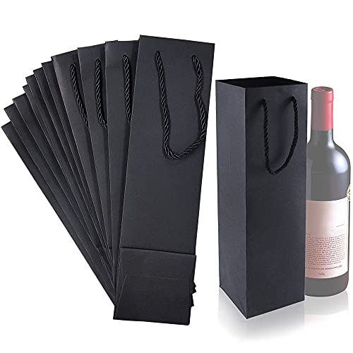 Rayong 12 bolsas de regalo de vino, bolsas de botella de vino, bolsas de papel resistentes, bolsas de fiesta, con asas de cuerda fuertes, color negro, bodas, cumpleaños, fiestas de Navidad