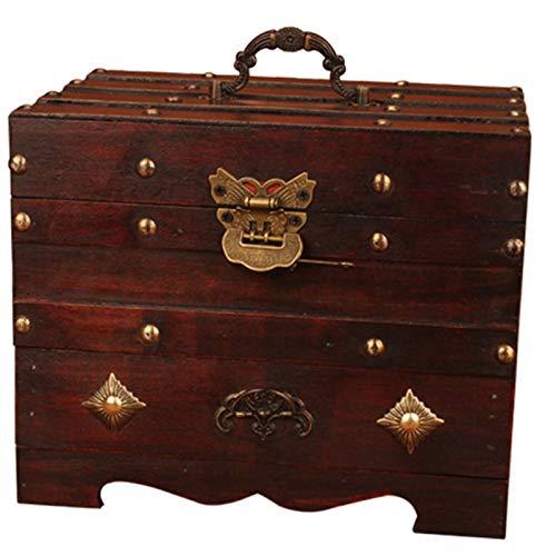 SODIAL Tocador de Madera con Espejo, Caja de Tocador Retro, Caja de CosméTicos con Cerradura, Joyero PequeeO, Caja de Almacenamiento de Pendientes