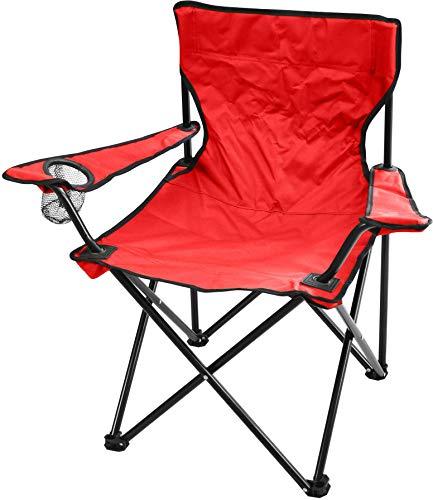 normani Campingstuhl Faltstuhl Klappstuhl Anglerstuhl Getränkehalter Stuhl Gartenstuhl für den Sommer Farbe Rot mit Armlehne