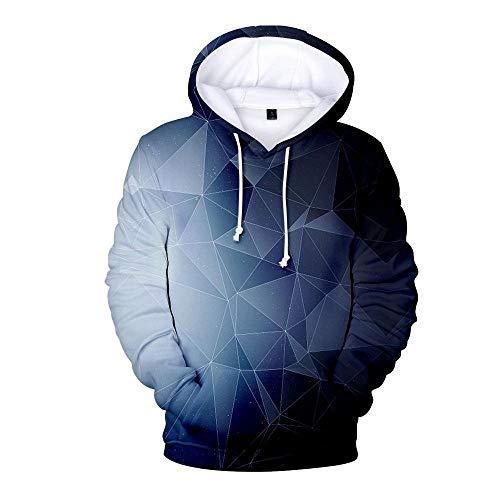 BRILIGHTEN 3D Stampato Felpa con Cappuccio,Motivo Geometrico Blu Primavera-Autunno Pullover Manica Lunga con Coulisse,XL