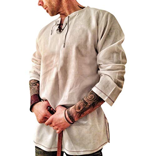 Men's Scottish Shirt Cotton and Linen Solid Color Long Sleeve Lace Up Retro Medieval Renaissance Pirate Costume Khaki