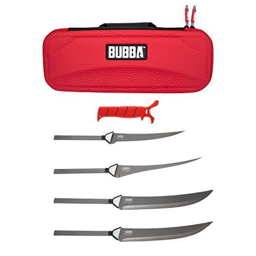 BUBBA Lâmina intercambiável multiflexível, com alça antiderrapante, 4 lâminas antiaderentes revestidas com Ti-Nitride S.S. e estojo para pesca