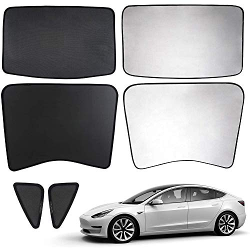 L&U Auto-Schiebedach UV-Strahlen Schutz Fenster-Farbton für Tesla Model 3, Covered Halb hinten Sonnenschutz Typen mit kostenlosen UV und Wärmeisolierung Film