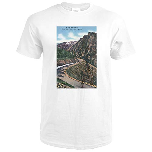 Montana - Scenic Drive along the Beartooth Mountains on the Beartooth Highway 24945 (Premium White T-Shirt X-Large)