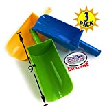 "Matty's Toy Stop 9"" Kids Short Handle Sand Scoop Plastic Shovels for Sand & Beach (Yellow, Blue & Green) Gift Set Bundle - 3 Pack"