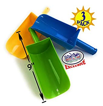 Matty s Toy Stop 9  Kids Short Handle Sand Scoop Plastic Shovels for Sand & Beach  Yellow Blue & Green  Gift Set Bundle - 3 Pack