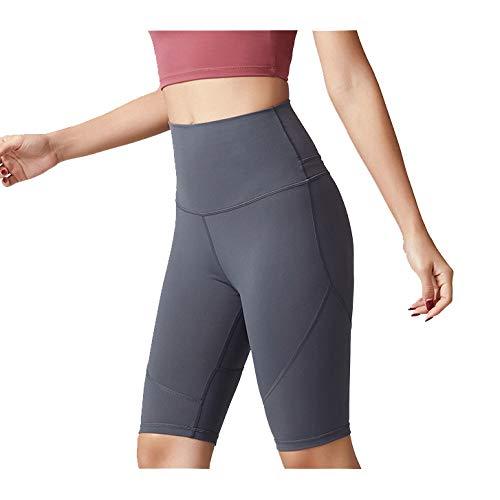 Sport Yoga Pants,'S Senza Saldatura Alte Donne della Vita di Allenamento Pancia Controllo Stretch Esecuzione Fuseaux, Non See-Through Fitness Elastic Shorts,Grigio,L