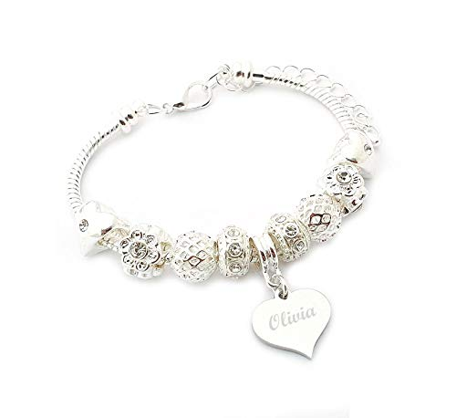 SanaBelle Personalised Engraved Name Charm Bracelet
