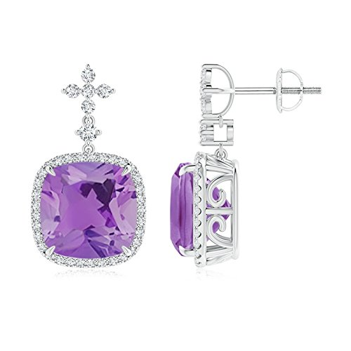 Holiday Gift - Cushion Amethyst Halo Earrings with Diamond Clusters in 14K White Gold (10mm Amethyst)