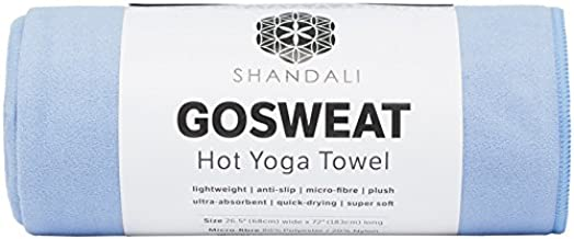 Hot Yoga Shandali GoSweat Microfiber Hand Towel in Super Absorbent Premium Placid Blue Suede for Bikram, Pilates, Gym, and Outdoor Sports. 16 x 26.5 inches.