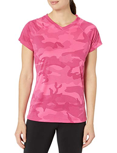 Champion Women's Short Sleeve Double Dry Performance T-Shirt, Wow Pink Camo, X-Large