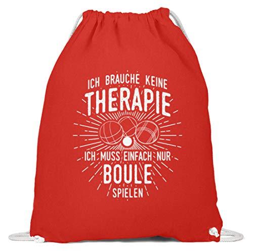 shirt-o-magic Petanque: Therapie? Lieber Boule - Baumwoll Gymsac -37cm-46cm-Hellrot