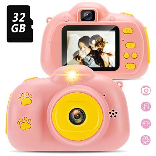 Yidarton Kinder Kamera mit 32GB TF-Karte, Digital Fotokamera Selfie und Videokamera, Selfie Kleinkindkamera mit 2 Zoll Bildschirm,Spiel, Kinder-HD-Digitalkamera, USB-Kabelbügel