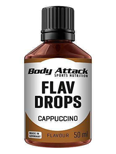 Body Attack Flav-Drops, Aroma für Lebensmittel, zuckerfrei, kalorienfrei, vegan Cappuccino (50ml)