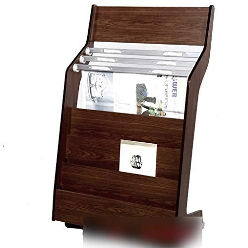 YUQIYU Estante de Madera Estante de periódico Muebles de Madera Maciza Soporte de visualización de información (Color: marrón, tamaño: 105 * 63,5 * 32,5 cm)