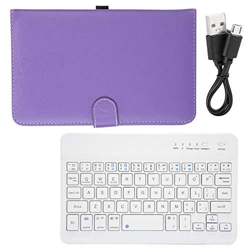 BOLORAMO Teclado inalámbrico, Teclado inalámbrico de diseño ergonómico para teléfonos con Pantalla de 4.5-6.8 Pulgadas con Funda de Cuero PU(Purple)