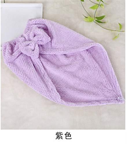 No branded Wrap Cap Douche Cheveux Douche Cap de Haute qualité à séchage Rapide Serviette Rapide Bow Cheveux épais Doux Absorbent Bonnet de Douche (Color : Violet)