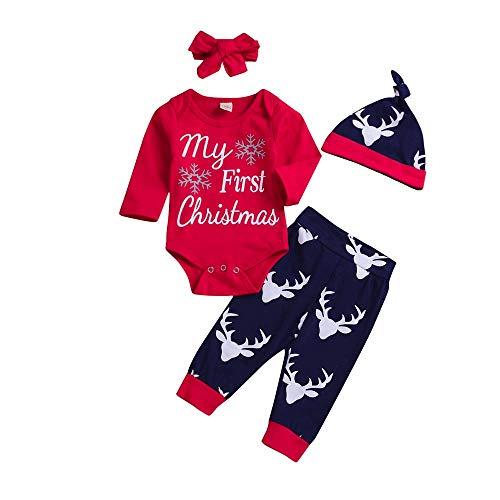 Jimmackey Neonato Natale Pagliaccetto, Lettera Stampa Tutine Body + Cervi Pantaloni Cappello Fascia Bambino Vestiti Completini (Rosso, 12 Mesi)