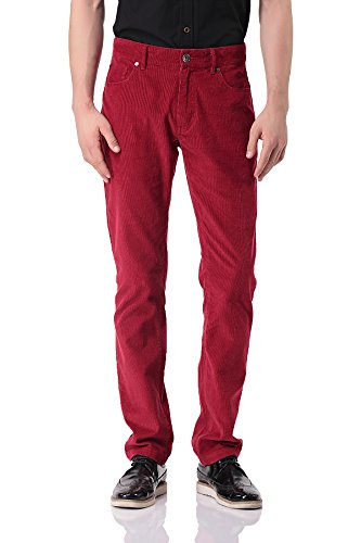 Pau1Hami1ton Herren Cordhose aus Baumwolle Skinny-fit Kordsamt Corduroy Hosen - PH-06(36,Red)